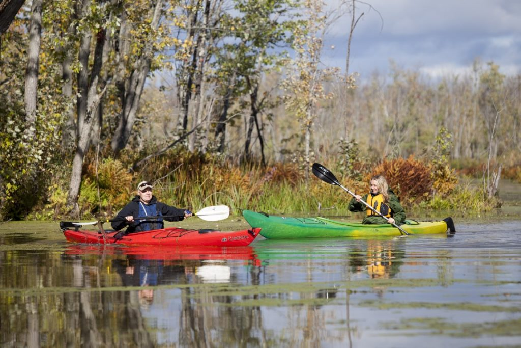 Alexandra Cousteau and Mike O'Malley, Ottawa Riverwatcher for the Mississippi river, paddle along the Appleton wetland in Ontario Canada.