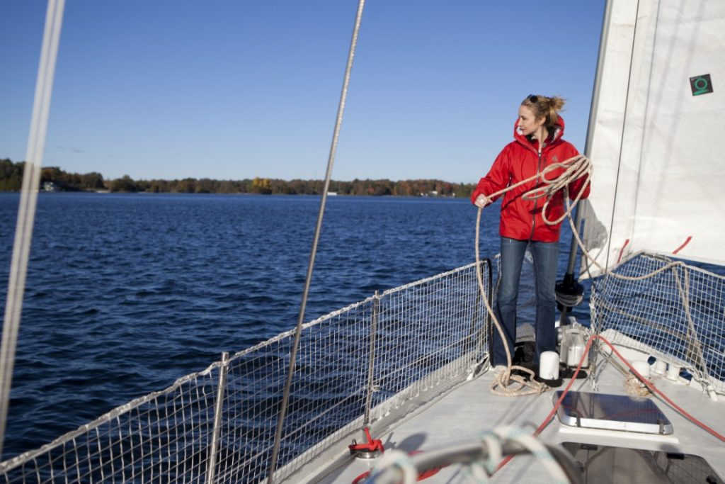 Alexandra Cousteau aboard the Arctic Tern, just outside of the Gananoque heritage village dock in Gananoque, Ontario.© Oscar Durand/Blue Legacy