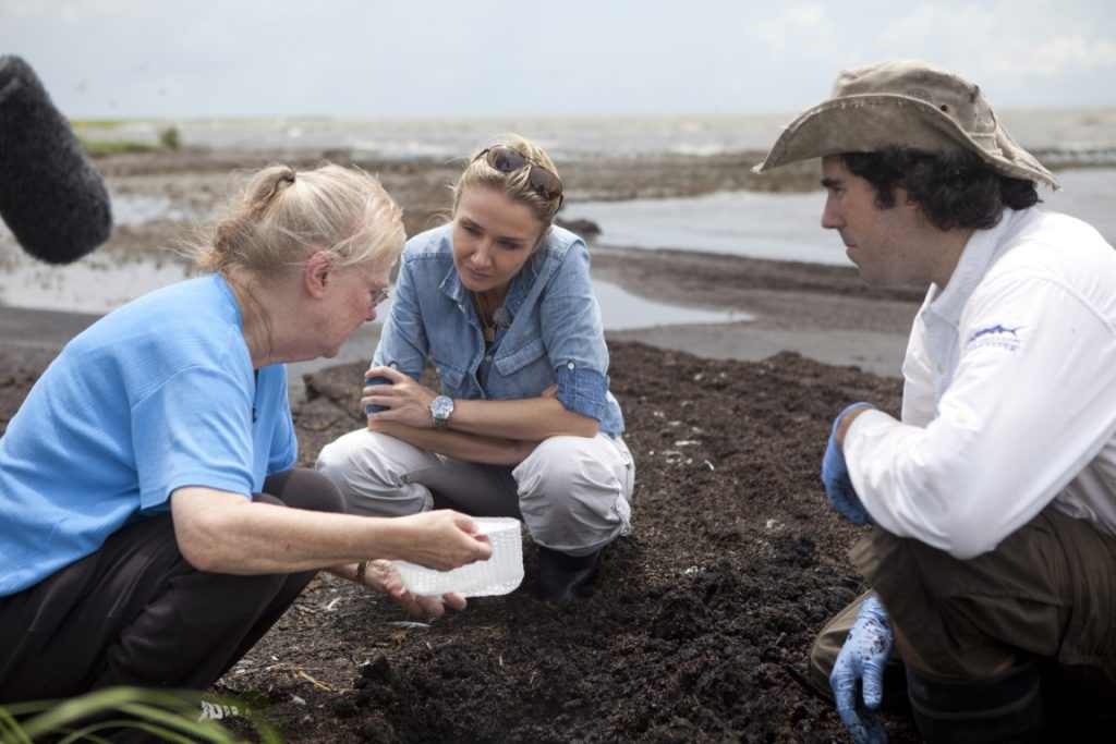 Wilma Subra, Alexandra Cousteau, and Paul Orr, Riverkeeper at Lower Mississippi Riverkeeper, collect dirt samples at an island in the Pointe-aux-chien area in Louisiana. The samples will be tested for contaminants. (Oscar Durand/Expedition Blue Planet)